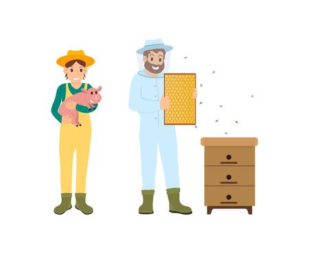 Apicultor y mujer con cerdo, agricultura iconos conjunto de vectores. Granjero con lechón pequeño en las manos. Trabajador de apicultura con abejas y panal