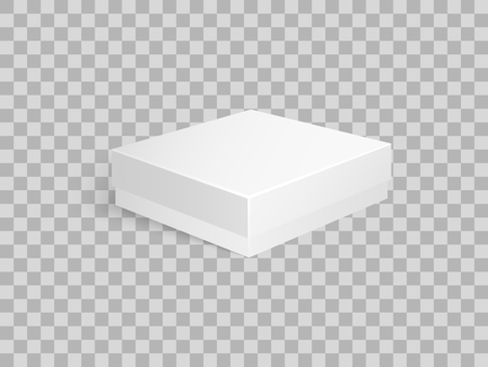 Package made of carton material, container for products storage and transportation. Parcel of square shape and flat top packaging vector on transparent