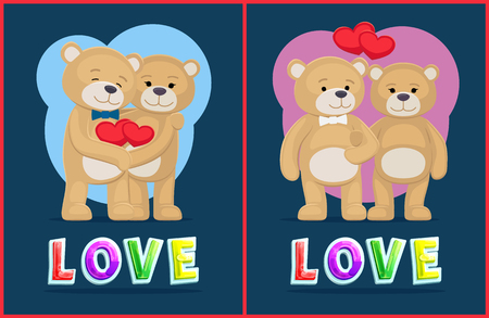 Couple Teddy Bears, love theme, vector placard. Valentine day card design, plush toys hold hands, keep arms, cartoon style, with heart icons cute toys