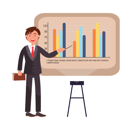 Presenter on seminar explaining chart on board vector. Businessman presenting new company strategy, whiteboard with infographic scheme and numbers 向量圖像