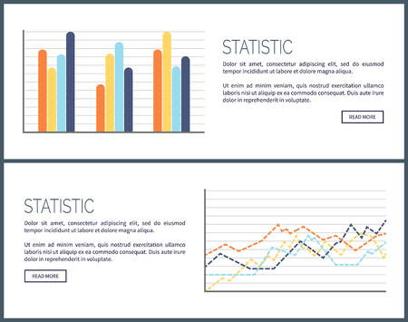 Statistic web pages with text sample, infographics vector. Layout of visualized information, business data in comparison. Schemes and flowcharts plan