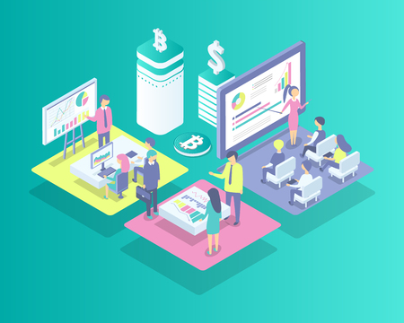 Cryptocurrency meeting of people isolated icons vector. Bitcoin and dollar currency on pedestal, financial problems and results. Man and woman working Illusztráció