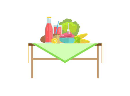 Vegetables, meat steak beside soda on table. Bread loaf, cabbage in beef pieces, corn or lemon slice and broccoli, cup with straw vector illustration.