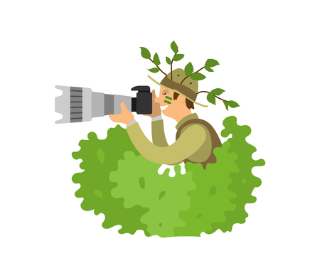 Paparazzi photographer spy in bushes, freelancer on job vector isolated. Photojournalist with camera gear, make zoom on shooting equipment vector man