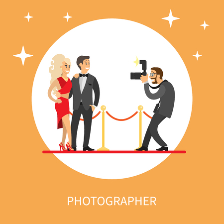 Photographer making photos of popular movie stars or singers on red carpet. Celebrity couple on red carpet and journalist taking pictures of famous people