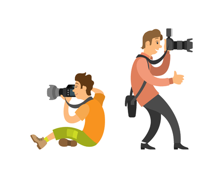 Photograph reporter at work, photographer and paparazzi, modern cameras with flash. Man taking photos, journalist vector illustrations isolated on white Иллюстрация