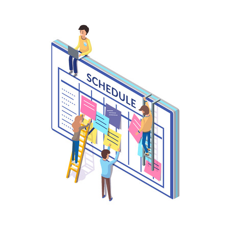 Schedule people planning time wisely, big board vector. Notes and sticky memos on wall, checkmarks and lists of things to do. Workers creating plan