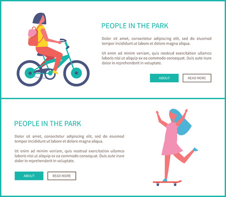 People in park, girl riding bike and woman skateboarding cartoon style web posters. Teenager in casual clothes and backpack cycling in park or city road Imagens - 125971210