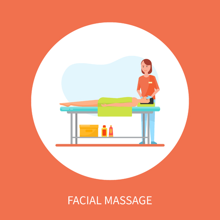 Facial medical massage session cartoon banner isolated vector in circle. Masseuse in uniform and rubber gloves massaging face of client lying on table