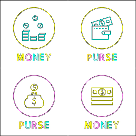 Money and purse icons set with circle shaped frames. Wallet with coins and banknote, dollar sign. Storage for wealth isolated on vector illustration Illustration
