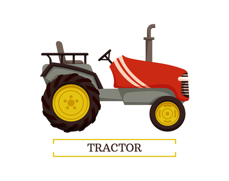 Tractor machine with pipe isolated icon vector. Equipment agricultural machinery for farming. Tillage auto with rudder and wheels, farm mechanism