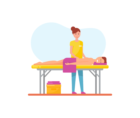 Massage therapy woman masseuse working with pleasure man relaxing on table vector. Person with towel get professional treatment of massage specialist