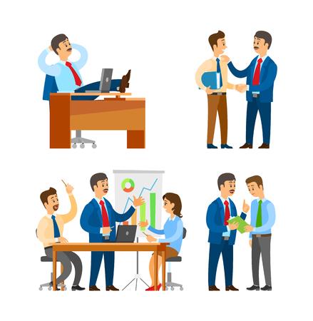 Boss praising office worker with clipboard seminar of team brainstorming. Gathering of business people discussing issues vector. Employer and employee Illustration