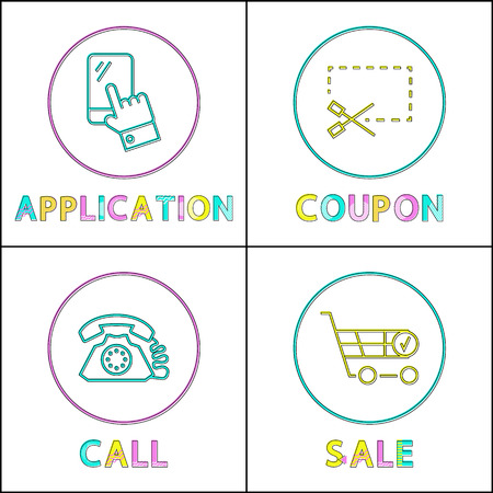Application and coupon, call and sale linear outline style. Gadget concept signs and website design simple line symbols in circles vector illustration