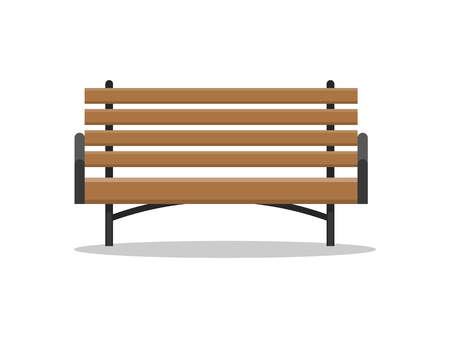 Bench made of wood, wooden and metal material, place for people to sit vector. Isolated icon of park outdoors furniture, solid empty construction