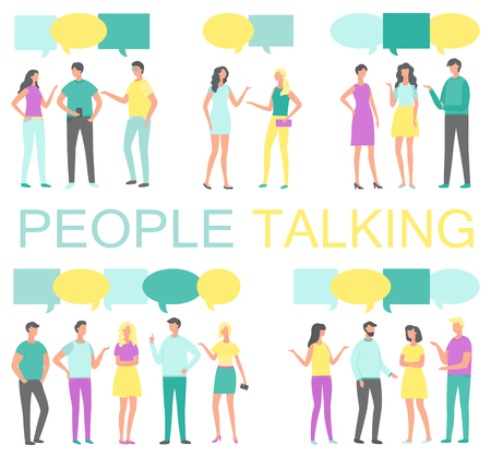People talking and discussing something poster vector. Human with smartphone in hands and thought bubble above. Chatting and discussion of problems