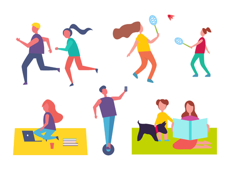 Run and playing tennis isolated icons. Running couple, man on hoverboard scooter. Mother and child on blanket sitting with pet. Freelance woman vector Ilustração