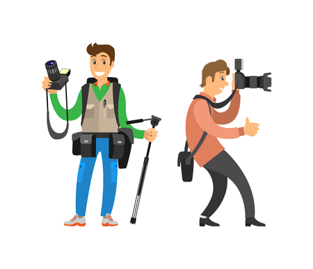 Paparazzi journalist making photos isolated. Photographer freelance men taking pictures, vector characters with modern digital cameras, tripod equipment Standard-Bild - 115639263