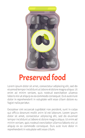 Preserved food olives in jar. Vegetables marinated conserved in glass container with distinctive label with image of product. Poster and text vector Banco de Imagens - 125971230