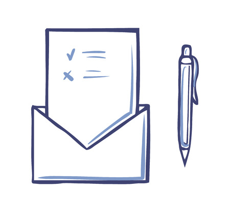 Envelope with opened voting page having marks and pen icon isolated vector. Ballot and information on sheet of paper. Monochrome sketch outline document