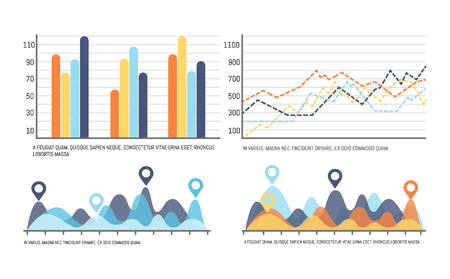 Infographic with curves, increasing data results vector. Flowcharts with numbers scales, location pointers circles. Graphs and schemes visual layout 일러스트