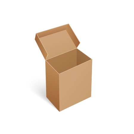 Package carton box container isolated icon vector. Opened top of empty cardboard item for storage and shipment, transportation of goods and products