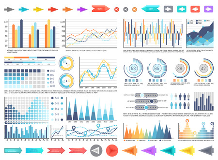 Charts and pie diagrams with numbers information vector. Pointers and schemes data, flowcharts with timelines analysis and results yearly comparison