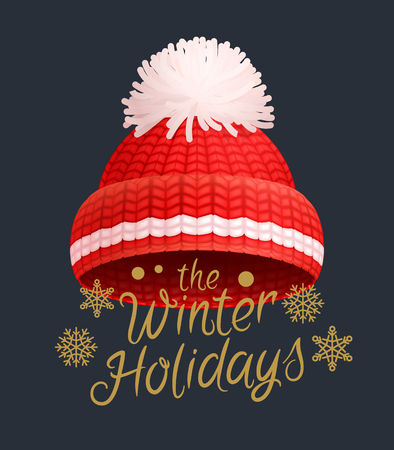 Winter holidays knitted red hat with white pom-pom vector. Warm headwear item, wintertime cloth thick woolen chunky yarn, hand knitting crochet headdress