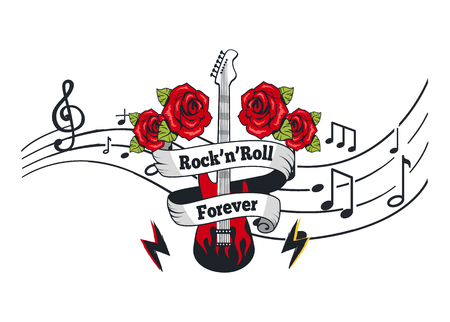 Rock n Roll Forever, Electric Guitar with Roses Vettoriali