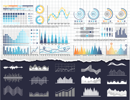 Data on infographics and flowcharts templates vector. Editable business charts having percentages and figures statistics. Pie diagrams and graphs
