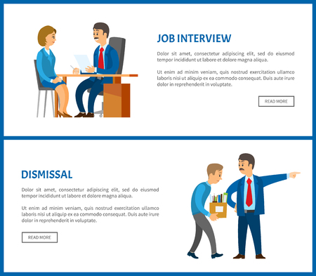 Job interview and dismissal of worker vector web poster. Boss in suit and mustaches dismissing employee with box. Executive manager and bad executor