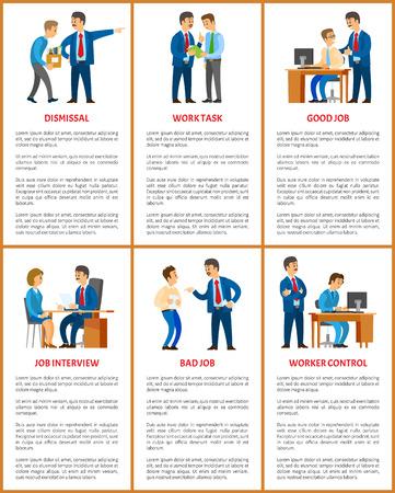 Lavoro d'ufficio, rapporti con capo e dipendenti. Licenziamento e compito, colloquio di lavoro e controllo dei lavoratori, impiegato con manager, illustrazioni vettoriali aziendali.