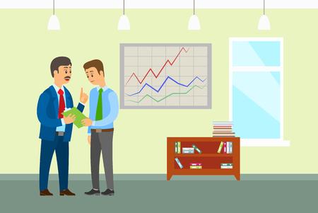 Líder de la empresa jefe hablando con el vector del trabajador de oficina. Personas discutiendo ideas de negocios y planificación estratégica. Portapapeles con páginas, diseño de interiores Ilustración de vector