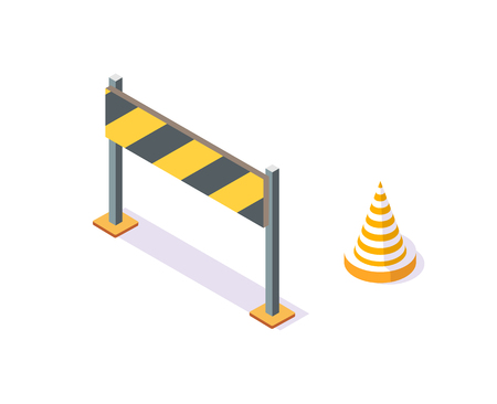 Road Plastic Cone and Stand with Stripes on Board Illustration