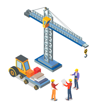 Crane and truck loaded with containers, workers talking vector Construction machinery, tower from steel with hook to lift blocks. Building industry Illustration