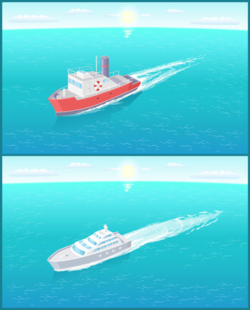 Transportation sailboats on skyline, speedboat floating vector icon. Steamboat marine transport vessel sailing in sea or ocean leaving traces in water.