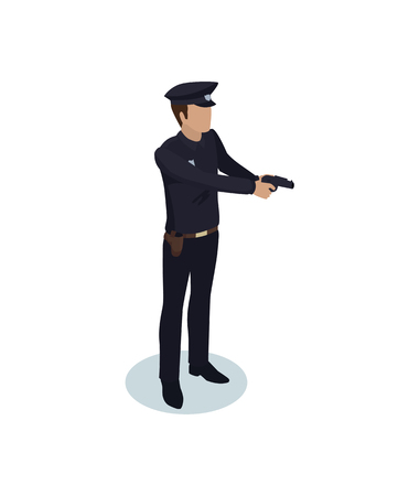 Policeman in working dress have gun at ready model form, side view. Order guardian with weapon realistic isometric character isolated vector. Ilustração