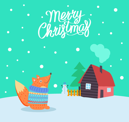 Merry Christmas fox wearing knitted sweater poster with greeting vector. Winter holiday, house and snowman, trees pine and wooden fence by building Ilustrace
