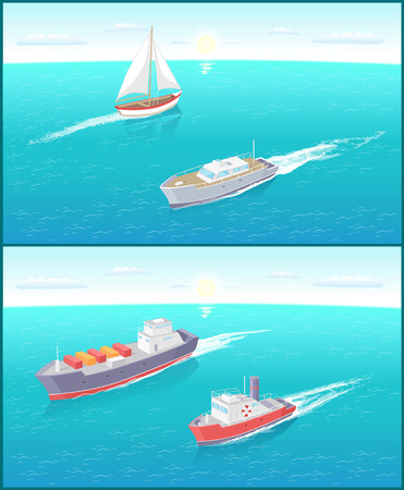 Water transport ferry and sailing boat for people transportations set vector. Vessels pf different kinds with motor for shipment and cargo delivery
