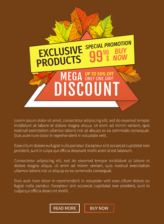 Mega discounts on exclusive products special promotion 99.90 price buy now advertisement poster with maple leaves. Autumn fall costs reduction web banner