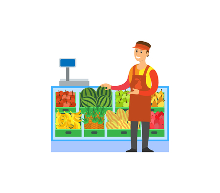 Supermarket store, fruits department with consultant vector. Shelves with pineapples, apples and melons, watermelons and pears. Showcase and weight