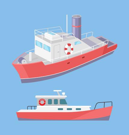 Ferry de transport par eau avec anneau de sauvetage gonflable pour bouée de sauvetage, vecteur. Navire pour le transport de personnes et de marchandises par voie maritime. Construction pour le transfert