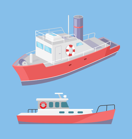 Water transport ferry with inflatable lifebuoy saving ring set vector. Ship for transporting people and cargo by sea means. Construction for transfer Banco de Imagens - 125971262