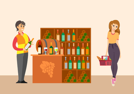 Sommelier with customer in winery shop vector. Seller advising kid of wine bottle with alcoholic drink. Wooden barrel with fermenting vintage beverage Illustration
