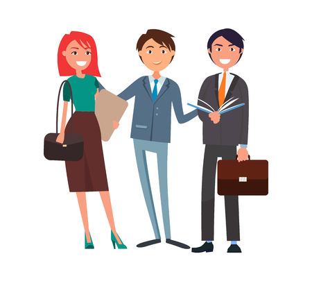 Coworkers group, successful man and woman cartoon characters. Redhead female with folder, cheerful boss and smiling manager with open book and briefcase Ilustrace
