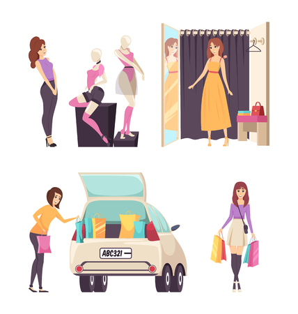 Female looking at clothes placed on mannequins set vector. Changing room with curtain and mirror, car loaded with bags. Woman with purchases in hands