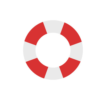Lifebuoy emblem cartoon isolated vector icon. Double color, striped inflatable ring, saving equipment single simple element, top view primitive badge Ilustração