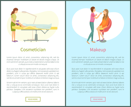 Cosmetician and makeup facial cosmetic procedures. Woman cosmetologist working with clients face taking care about skin, stylist apply cosmetics on face Stock Vector - 125971278