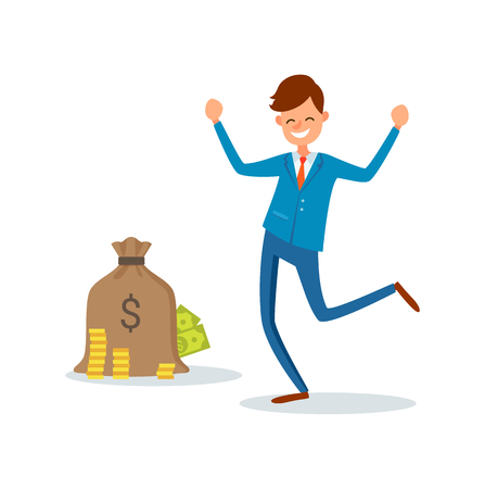 Sack with dollar sign full of golden coins and paper money bills and happy businessman with hands up vector isolated. Boss in suit ready to get money