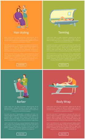 Hair styling and barber, body wrap and tanning in solarium posters. Spa and cosmetic procedure in beauty saloon banner set isolated vector sample
